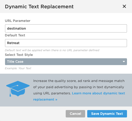 Working with Dynamic Text Replacement – Documentation