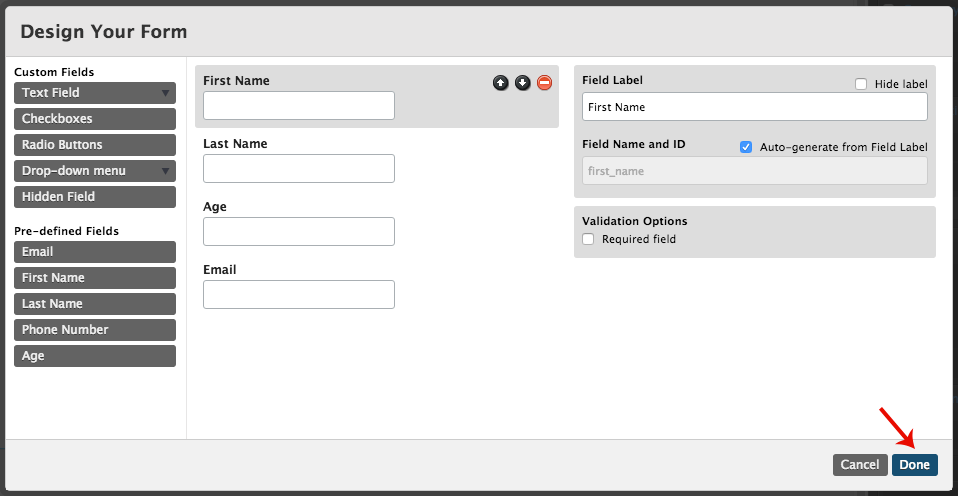 Adding and Editing Form Fields – Documentation